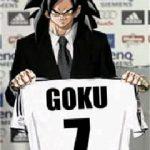 Goku con la camiseta del real madrid