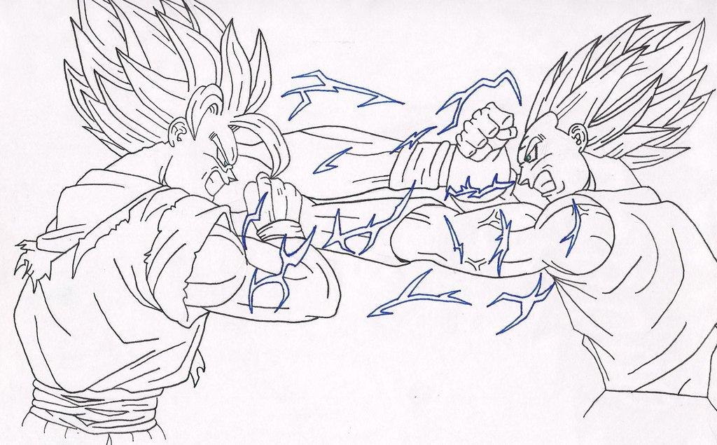 Dragon Ball Gogeta Cuerpo Completo Para Dibujar: Goku_vs_majin_vegeta_by_leaxed-d6gxwg9