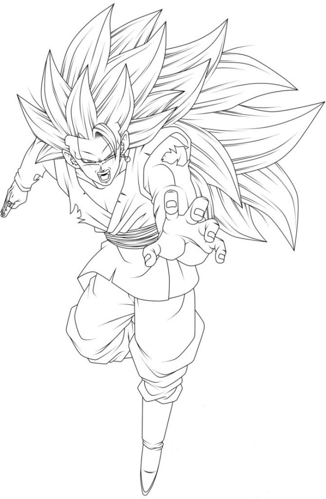 Goku Fase 3 Para Colorear