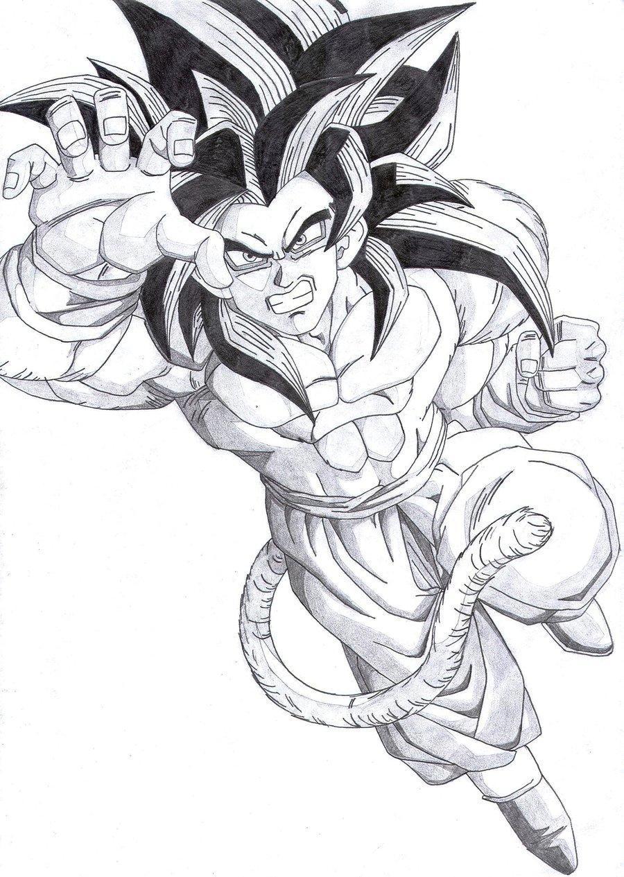 Goku Super Sayayin Fase 4 Para Colorear