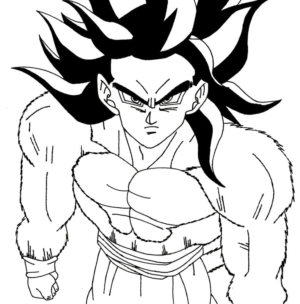 Goku Fase 4 Para Colorear