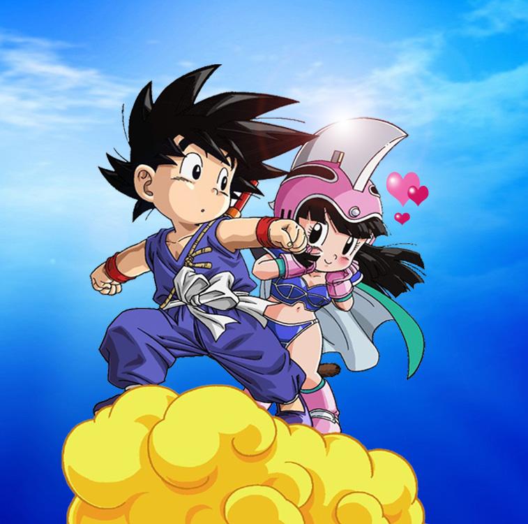 Goku y Milk de niños
