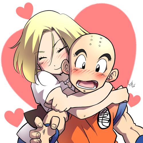 Androide 18 y Krilin enamorados
